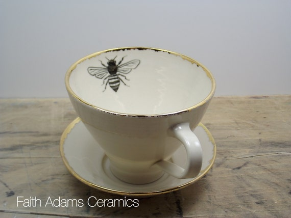 Honey Bee White and Gold Porcelain Tea Cup & Saucer or Mug-Wedding Gift, Gift for Mom, Hostess Gift