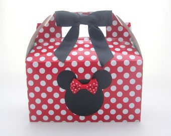Set of 5 Minnie Mouse Favor Boxes -Red Polka Dot Gable Top Favor Boxes