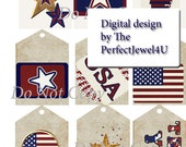 Printable Patriotic Tags Digital Download Scrapbook