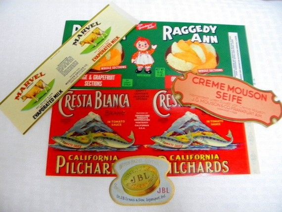 Lot vintage labels for food and beauty products early 20th century DESTASH