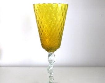 Vintage  Empoli Diamond Optic Topaz Glass Vase with twisted Stem