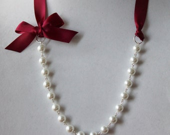 White Pearl and Burgundy Ribbon Bow Necklace