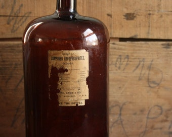 Large Vintage Amber Glass Doctor's Bottle with Label