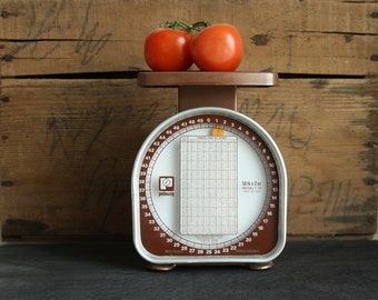 Vintage 70's Pelouze Postal Scale // Brown Industrial 50 lb Shipping Scale