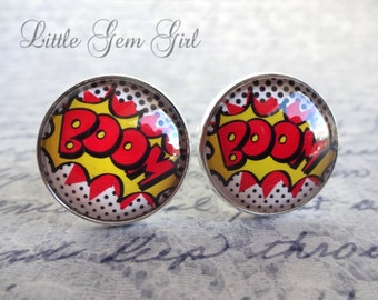 Retro Comic Book Cuff Links - Superhero BOOM Cufflinks for Groom - Wedding Gift - Best Man Geekery - Stainless Steel and Sterling Silver