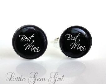 Best Man Cuff Links - Groomsman Wedding Cufflinks  Gift - Available in Sterling Silver or Stainless Steel