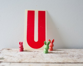 Marquee Letter U - Red Marquee Plastic Letter U Vintage Marquee Q Vintage Letter Q Sign