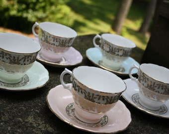 Royal Vale Tea Cup / Saucer Set - Bone China, Pastel & Gold England Garden Party, Rustic Wedding