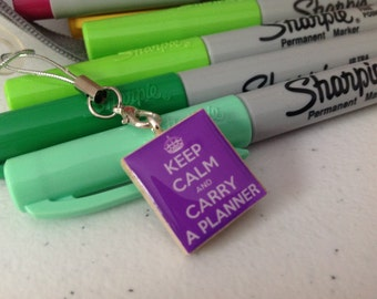 Keep Calm And Carry A Planner Scrabble Tile Charm In Purple