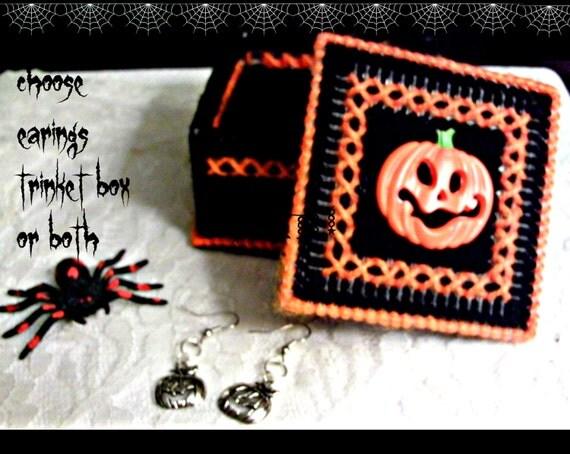 Pumpkin Earings N Trinket Box