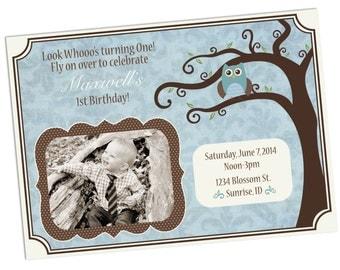 Boy Owl Baby Shower or Birthday Invites- Printable DIY PDF only