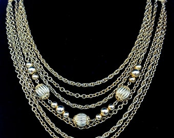 Vintage Gold Tone Multi Chain Necklace Mid Century