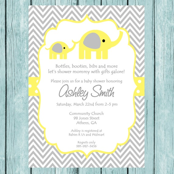 Yellow Elephant Baby Shower Invitation Printable Chevron Elephant