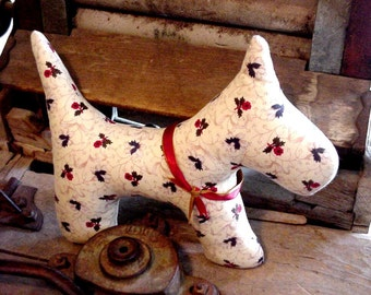 Stuffed Scottie Dog Shabby Country Cottage Home Decor Pillow Christmas Westie Cupboard Tuck itsyourcountry