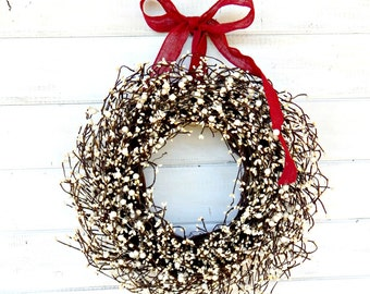 Valentine Wreath-Valentines Day Wreath-Holiday Home Decor-WHITE BERRY Wreath-Year Round Wreath-Housewarming Gift-Christmas Door Decor-Gifts