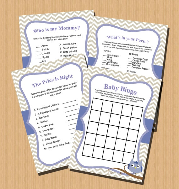 baby shower games instant download printable diy blue and grey
