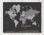 World Map Poster, 16X20 Inches, World Travel, Honeymoon, Vacation Art, Travel Map, Christmas Gift, Holiday Gift