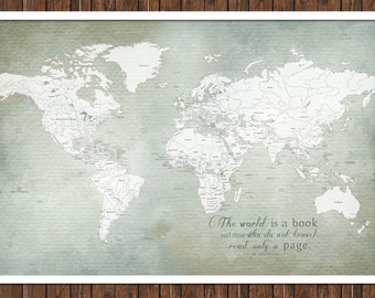 World map, Gift for grads, 30X45 Inches, Watercolor World, World Travel, Adventure Travel, Vacation Art, Travel Map, paper map gift