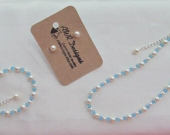 Flower Girl Turquoise Jewelry Set Prom Sorority Ivory Swarovski Pearls and Aquamarine Crystals Bridal Jewelry Set