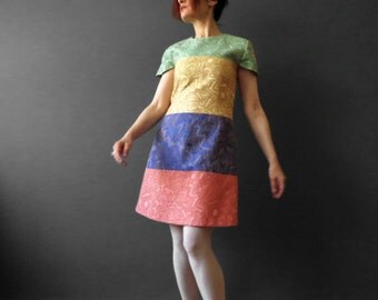 Handmade Color block Shift Dress Tribal Abstract Jacquard A Frame Mini Dress 70s Style Cap Sleeve Dress Italian Couture Fabric