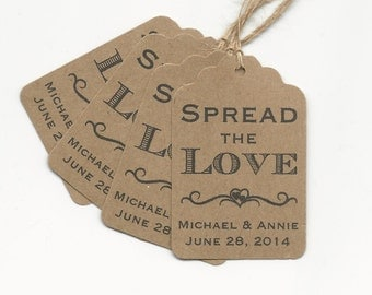 50 SPREAD the LOVE Personalized Handmade Tags-Wedding Wish Tags-Jam-Honey jar tags-Favor tags