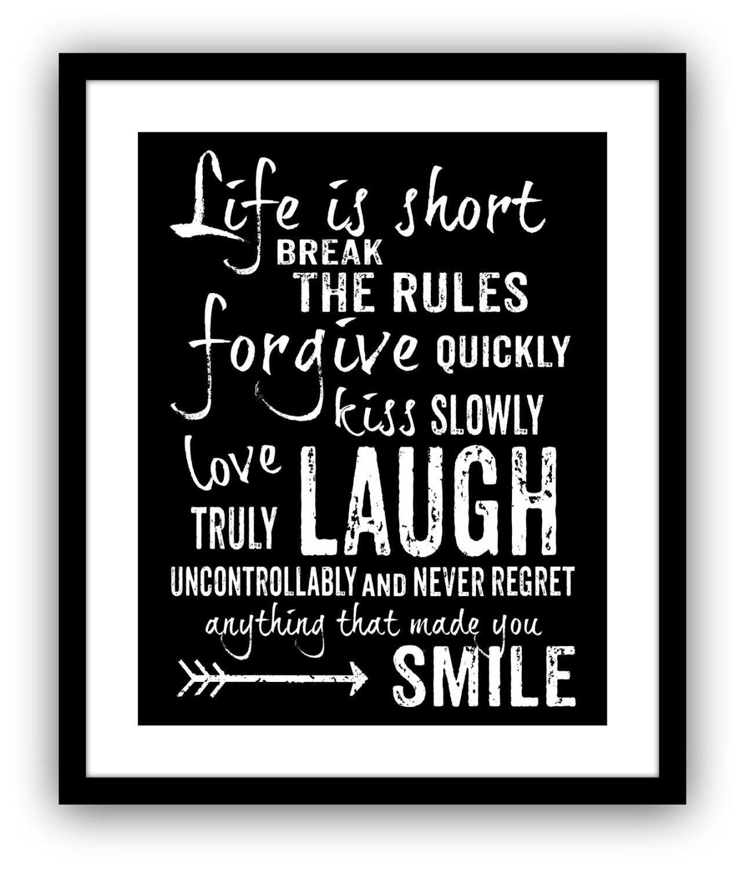 Life is Short Break the Rules Mark Twain Quote Art Print