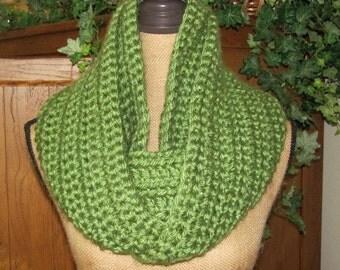 Apple Green Infinity/Cowl Scarf Super Chunky Super Soft Unisex Hand Crocheted Lion Brand Hometown USA Acrylic Yarn named Oklahoma City Green