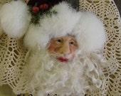 OOAK Hand sculpted Santa Ornament