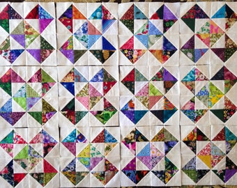 12 COLOR Collection Crosses and  Stars Quilt Top Fabric Blocks 100% Cotton Made in USA