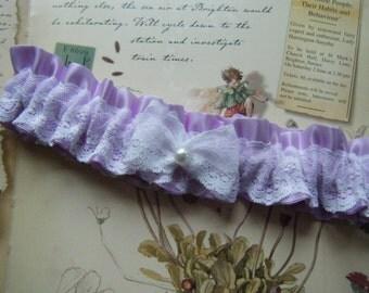 Plus Size Light Purple Satin Garter with White Lace