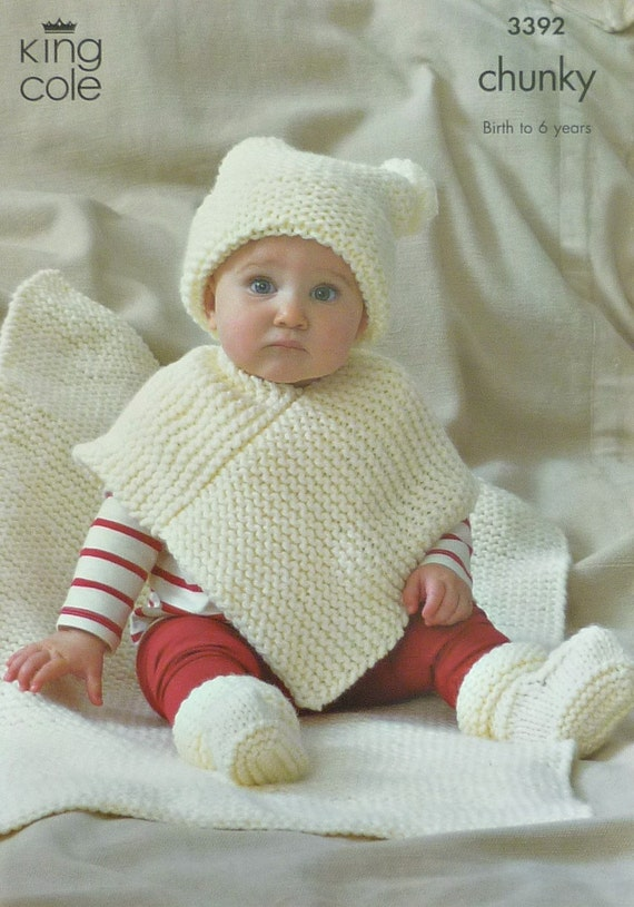 Baby Knitting Pattern K3392 Very Easy Knit Babies Hat Poncho