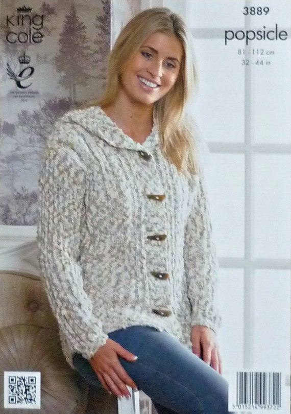 Knitting Pattern Hooded Jacket : Womens Knitting Pattern K3889 Ladies long Sleeve Hooded Jacket