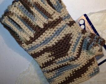 Man Hands, Fingerless Gloves, Wrist Warmers, Crochet, Earth Ombre, Brown Slate Tan,  Cotton,  Size 10, 7706
