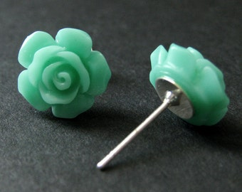 Turquoise Flower Earrings. Turquoise Earrings. Gardenia Flower Earrings. Silver Stud Earrings. Turquoise Rose Earrings. Handmade Jewelry.