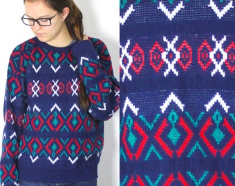 SALE Vintage Retro Aztec Tribal Multi Colored Geometric Patterned Boyfriend Sweater Small