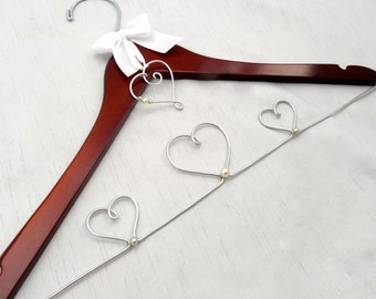 Wedding Dress Hangers Personalized with Hanging Monogram or Heart Charm and Pearl Accent