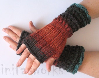 Fingerless Gloves Brown Orange Blue Azure Black Beige Green Mittens Wrist Warmers