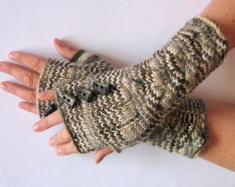 Fingerless Gloves Gray Brown Beige Button Arm Warmers Mittens 9.5 inch Knit Wool Acrylic