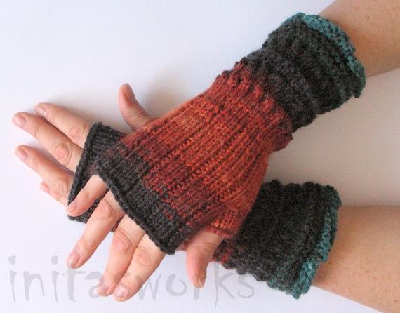 Fingerless Gloves Brown Orange Blue Azure Black Beige Green Mittens Wrist Warmers