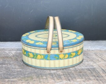 Vintage Tindeco Tin with Handles Fruit Design Storage