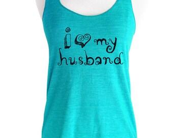 i love my husband Ladies Tank Top Soft Tri-Blend Racerback Tank