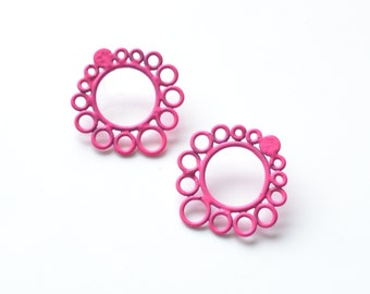 neon pink earrings, jewellery made from recycled copper electric wire and powdercoated, pink enamel, minimalist modern style, 50% OFF, SALE