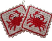 Crab Pot Holder Set. Crochet potholders. Beach decor with red crabs. King crabs