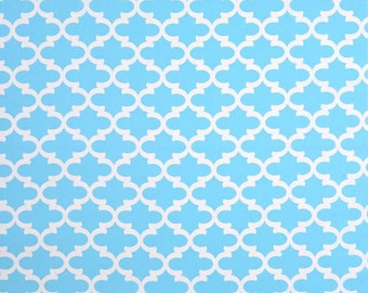Sky Blue Regatta White Lattice Fynn Curtains  Rod Rocket  63 72 84 90 96 108 120 Long x 25 or 50 Wide