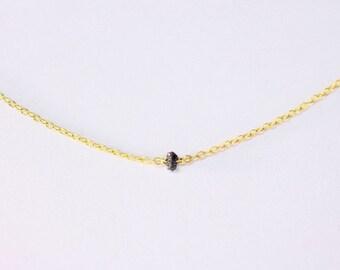 Raw Diamond Necklace - raw black diamond necklace, rough diamond necklace, dainty layer necklace,14k gold filled