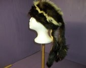Real skunk tanned taxidermy fur hide skin pelt Hat mountain man Native American pow-wow dance regalia rendezvous