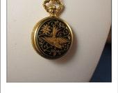 Vintage Enamel Bucherer Swiss Quartz Watch pendant with Beautiful Bird design