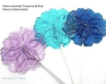 12 LARGE SNOWFLAKE LOLLIPOPS - Frozen Inspired Princess Party Lollipops