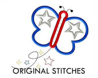 Patriotic Butterfly Applique and Machine Embroidery Design File 4x4 5x7 6x10