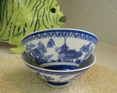 Cobalt Blue and White Asian Rice Bowls Vintage